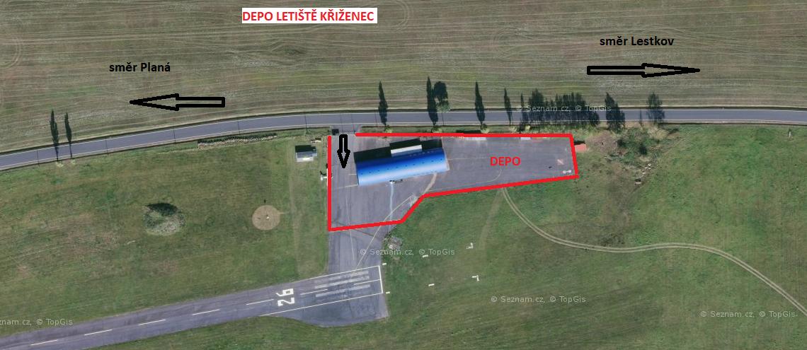 Depo závodních strojů závodu Letiště Křiženec-Vysoké Jamné